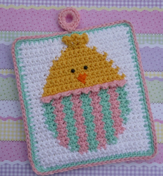 Easter Egg Chick Crochet Potholder PATTERN - INSTANT DOWNLOAD