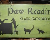 Paw Readings Witch Primitive Wood Sign Halloween Cats Wall Hanging Home Decor WICCAN Plaque Kittens