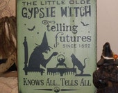 Little Old Gypsie Witch Primitive Handpainted Wood Halloween Wicca Sign Plaque