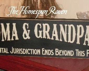 Grandma and Grandpa Zone Primitive Handpainted Wood Sign Plaque BRAND NEW