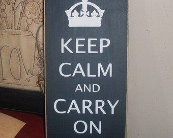 Keep Calm and Carry On Primitive Handpainted Wood Nostalgia Home Decor Sign Wall Hanging