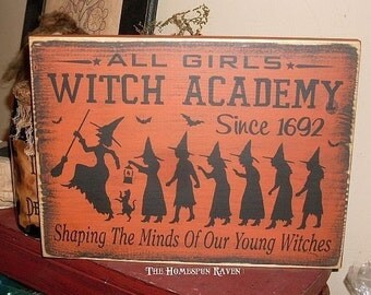 All Girls Witches Academy Primitive Handpainted Wood Sign Plaque Wiccan BRAND NEW DESIGN