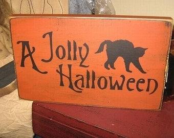 A Jolly Halloween Black Cat Primitive Handpainted Wood Sign Home Decor Plaque