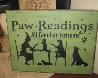 Paw Readings Witch With Dog Puppies Handpainted Primitive WICCA Wood SIgn Halloween Fall
