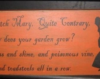 Olde Witch Mary Primitive Wood Sign Halloween Decor Wiccan Fall Wall Plaque Pagan Wicca