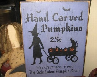 Pumpkins For Sale Witch Wiccan Handpainted Wood Sign Plaque Halloween Home Decor Wall Hanging