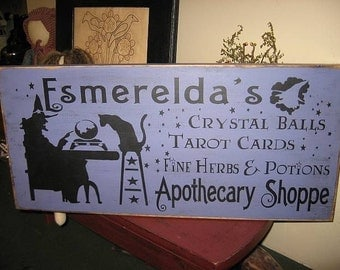 Esmereldas Apothecary Shoppe Primitive Handpainted Wood Sign Witch WICCAN Plaque Pagan Black Magic