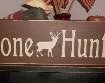 Gone Huntin Primitive Handpainted Wood Sign Deer Hunting Plaque Wall Decor