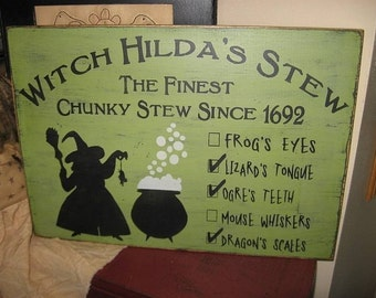 Witch Hilda's Stew Handpainted Primitive Wood Sign Wall Hanging Home Decor Halloween WICCA WICCAN