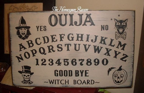 Primitive Vintage Style Witch Ouija Board Handpainted Wood Sign Gameboard Plaque Halloween BRAND NEW DESIGN