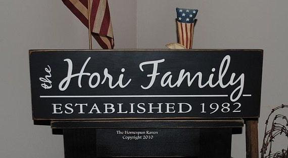 Personalized Custom Family Name Handpainted Primitive Wood Sign 8x24 Plaque Established You Choose It all