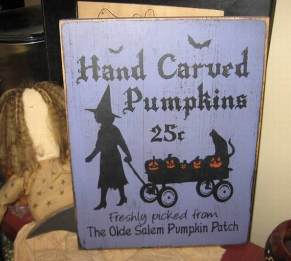 Pumpkins For Sale Witch Wiccan Handpainted Wood Sign Plaque