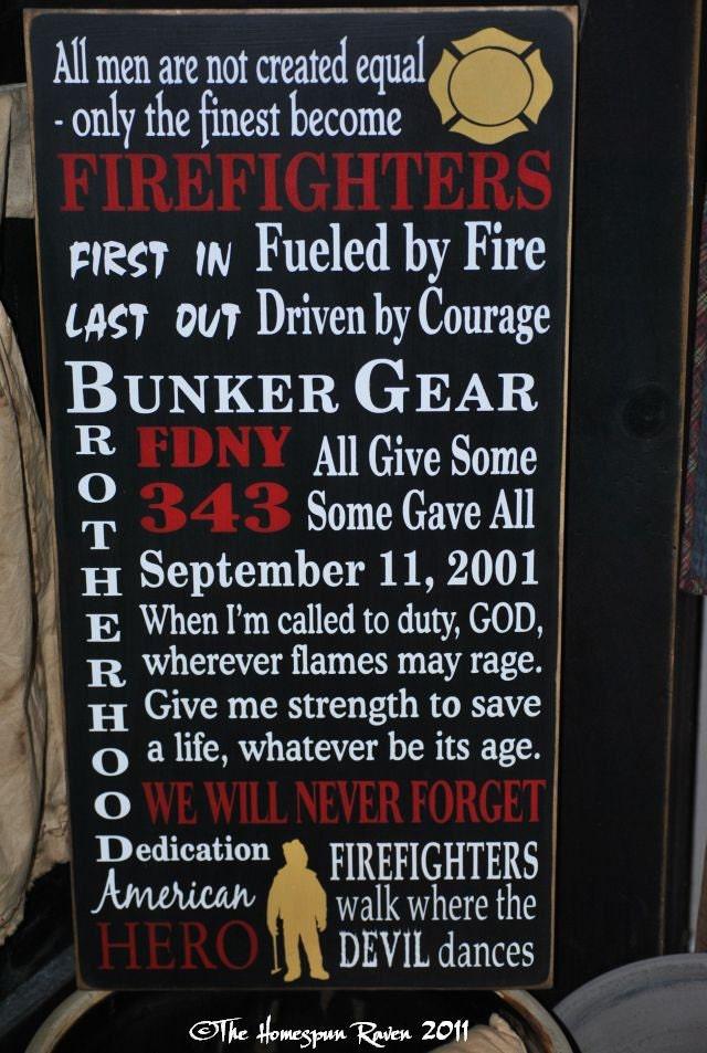 September 11 Tribute Firefighter Firefighting Typography