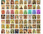 Lady of Guadalupe Scrabble Tile digital collage sheet for pendant or magnet 81 images 19mm x 21mm rainbow folk art 19mm x 21mm