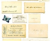 Antique Victorian Calling Card Digital Collage Sheet