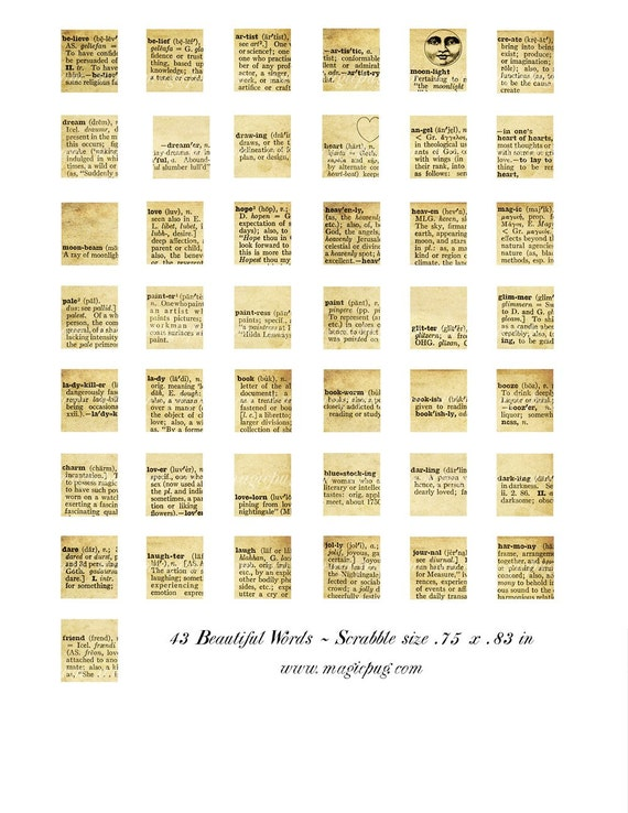 beautiful words dictionary scrabble size digital collage sheet