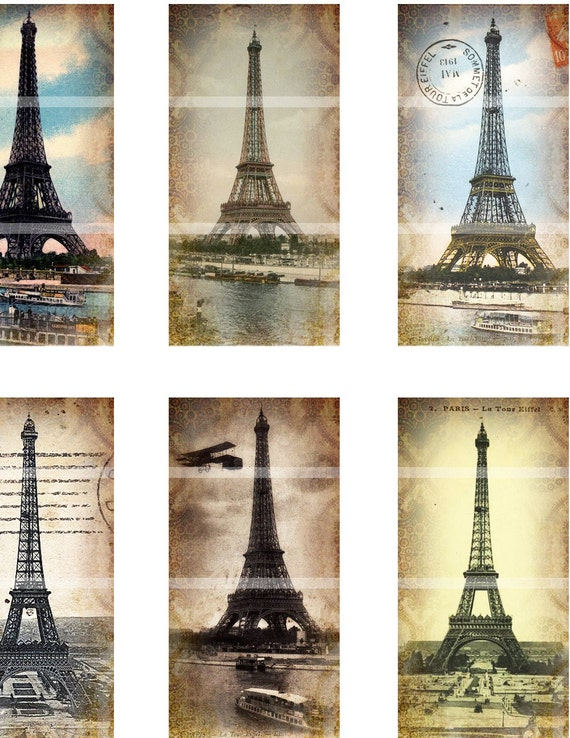 eiffel tower altered art domino digital collage sheet 1x2 25mm x 50mm paris france from. Black Bedroom Furniture Sets. Home Design Ideas