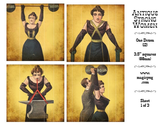 antique circus strong women digital collage sheet set