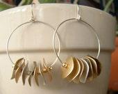 Gypsy hoop earrings, metal coins, SALE