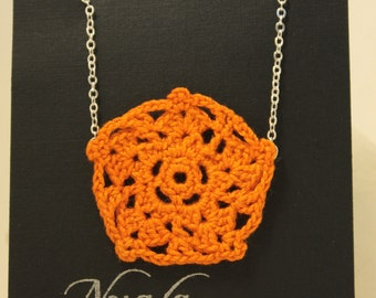 Crochet Necklace Orange and Silver