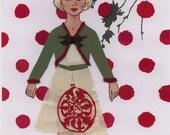 Red Spot Vintage Paper Doll