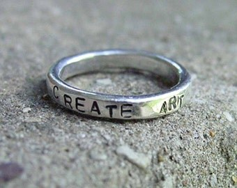 Hand Forged CUSTOM sterling silver SENTIMENT ring - Creative Mode