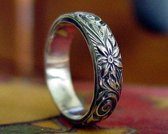 Sterling Silver Sprial and Flower Ring - Creative Mode