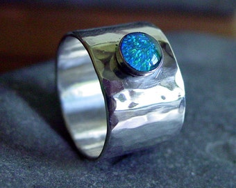 10mm WIDE Band Sterling Silver Ring with OPAL - Any Size