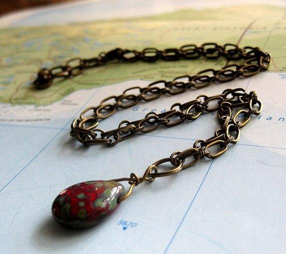 Niraj Wire-Wrapped Red Pendant on Bronze Chain
