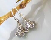 fine silver earrings . hill tribe silver bell flower earrings . Thai silver earrings