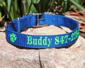 Personalized ID Dog Collar, Embroidered Dog Collar, Identification Collar -metal buckle - Great for Large Dogs