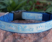 "1"" wide Prince Theme adjustable dog collar - with buckle or in a martingale style"