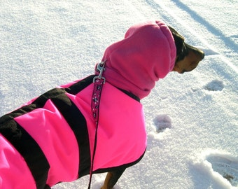 Snood for Dog - Pink Polar Fleece Snood for Large Dog - Doberman - Shepherd - Rhodesian Ridgeback - Dog Snood