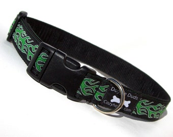 Adjustable Dog Collar with Green Flames
