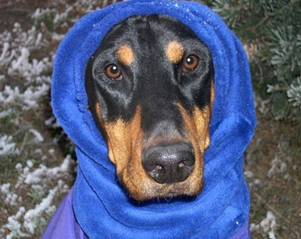 Royal blue Polar Fleece snood for large dog,  Dobersnood