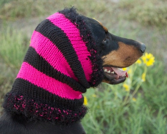 Hot Pink and Black Hand knitted Snood for Large Dog