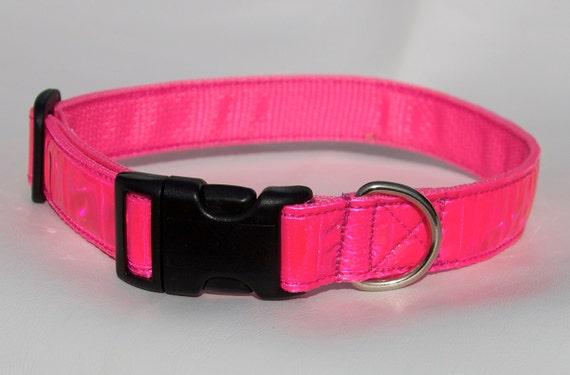Reflective Dog Collar - Hot Pink - Safety Collar - Highly Reflective