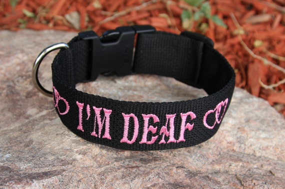 "Custom Made - Dog Collar 1 1/2"" wide - IM DEAF - you pick the colors"