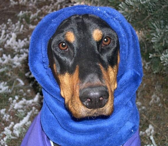 royal blue polar fleece snood for large dog dobersnood
