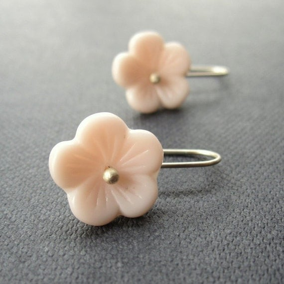 Sakura Blossom Earrings -  vintage pink Japanese glass beads and sterling silver jewellery