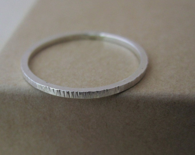 Lines Stacking Ring - Textured Sterling Silver