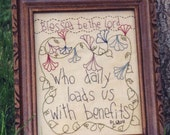 Primitive Stitchery Pattern - Blessed be the Lord Instant Download #2515