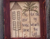 Primitive Stitchery Pattern - As For Me and My House Instant Download #1544