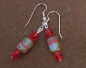 Red Hot Beaded Dangle earrings