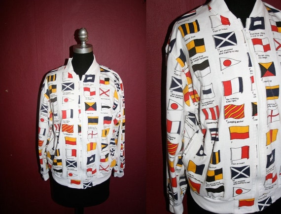 Vintage 90's flags of the world zip up sweater size M
