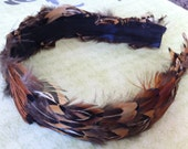 Wide Guinea/Pheasant Feather Headband