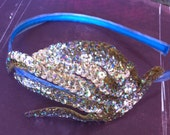 Golden Sky Blue Sequined Coral Headband - Vintage Style