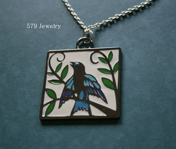 Someday I'll Fly Away - Enameled Songbird Necklace