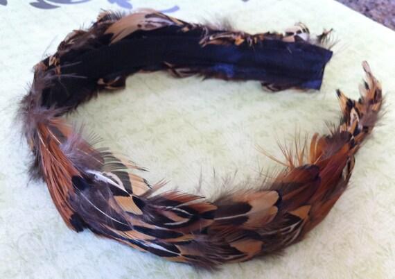 Wide Guinea/Pheasant Feather Headband