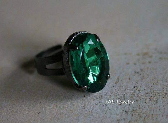 Oval Cut Faux Emerald Adjustable Ring